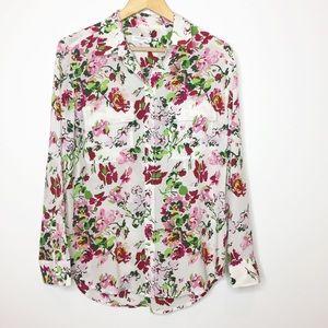 Equipment floral button down silk shirt medium